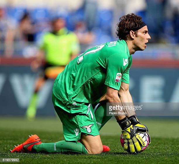 Lazio goalkeeper Federico Marchetti in action during the Serie A match between SS Lazio and AS Roma at Stadio Olimpico on April 3 2016 in Rome Italy