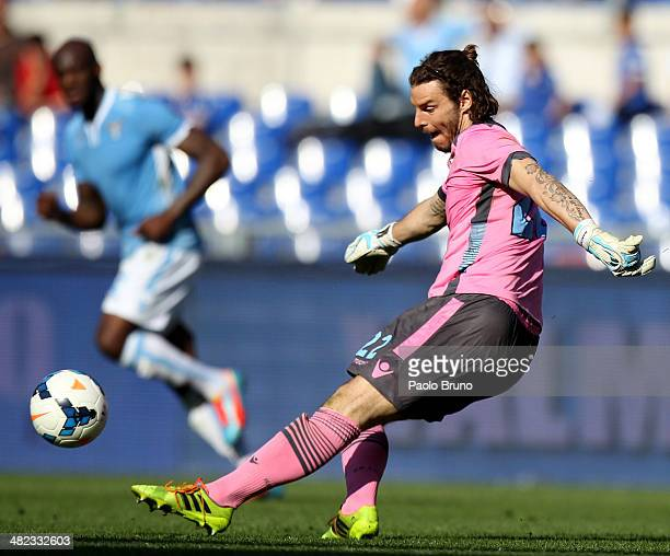 Lazio goalkeeper Federico Marchetti kicks the ball during the Serie A match between SS Lazio and Parma FC at Stadio Olimpico on March 30 2014 in Rome...