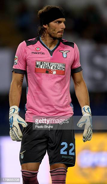 Lazio goalkeeper Federico Marchetti looks on during the Serie A match between SS Lazio and Udinese Calcio at Stadio Olimpico on August 25 2013 in...