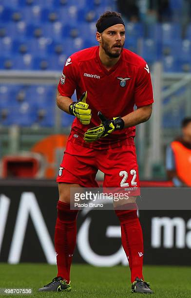 Lazio goalkeeper Federico Marchetti looks on during the Serie A match between SS Lazio and US Citta di Palermo at Stadio Olimpico on November 22 2015...