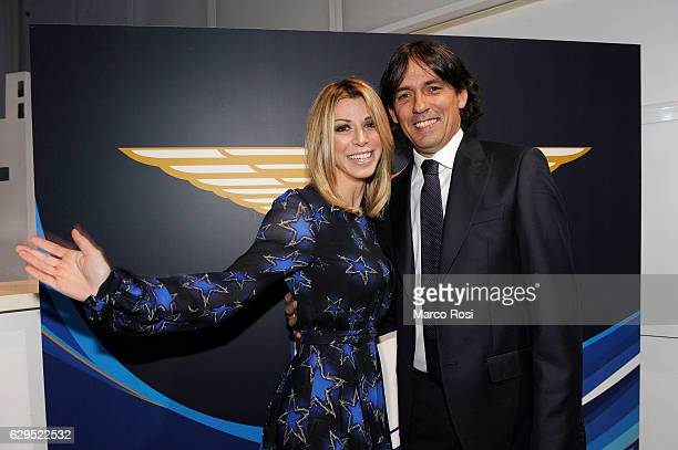 Lazio head coac Simone Inzaghi and wife during the SS Lazio Christmas Dinner on December 13, 2016 in Rome, Italy.