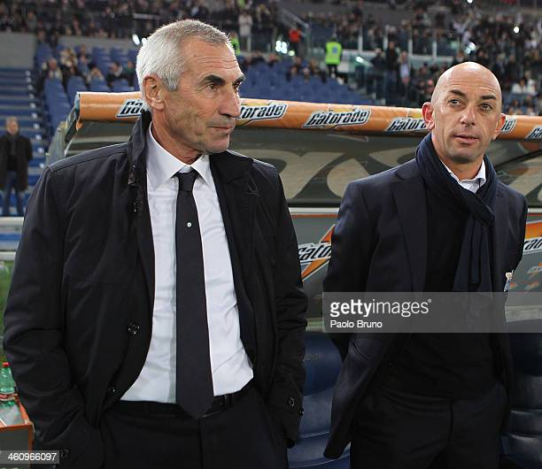 SS Lazio head coach Edoardo Reja and his assistant coach Alberto Bollini look on during the Serie A match between SS Lazio and FC Internazionale...