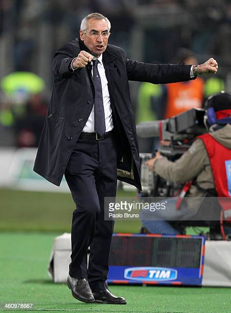 Lazio head coach Edoardo Reja celebrates the opening goal scored by Miroslav Klose during the Serie A match between SS Lazio and FC Internazionale...