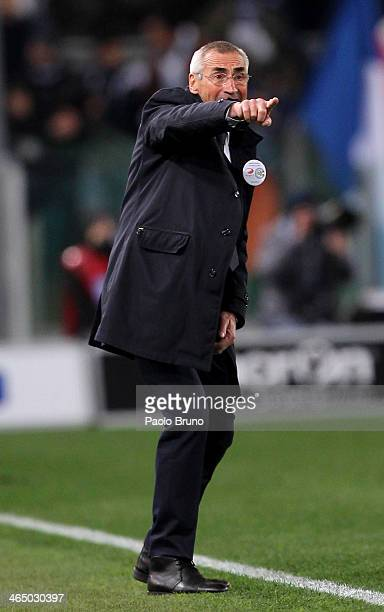 S Lazio head coach Edoardo Reja gestures during the Serie A match between SS Lazio and Juventus at Stadio Olimpico on January 25 2014 in Rome Italy