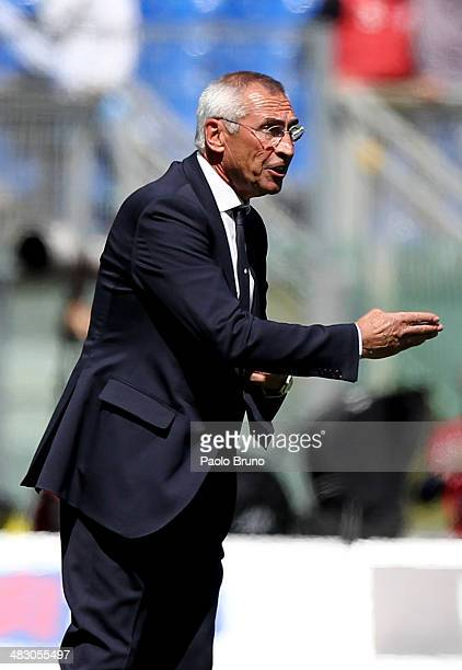 Lazio head coach Edoardo Reja gestures during the Serie A match between SS Lazio and UC Sampdoria at Stadio Olimpico on April 6 2014 in Rome Italy
