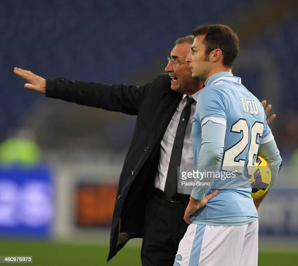 Lazio head coach Edoardo Reja speaks with Stefan Radu during the Serie A match between SS Lazio and FC Internazionale Milano at Stadio Olimpico on...