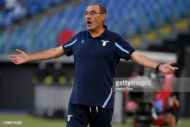 Lazio head coach Maurizio Sarri reacts during the Serie A match between SS Lazio and Spezia Calcio at Stadio Olimpico on August 28, 2021 in Rome,...
