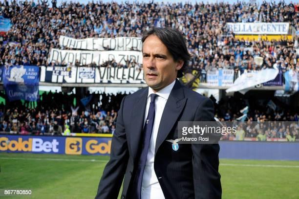 Lazio head coach Simone celebrate a winner game with your fan after the Serie A match between Benevento Calcio and SS Lazio at Stadio Ciro Vigorito...