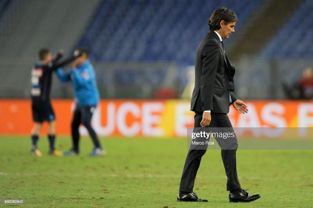 SS Lazio head coach Simone Inzaghi after the Serie A match between SS Lazio and SSC Napoli at Stadio Olimpico on September 20, 2017 in Rome, Italy.
