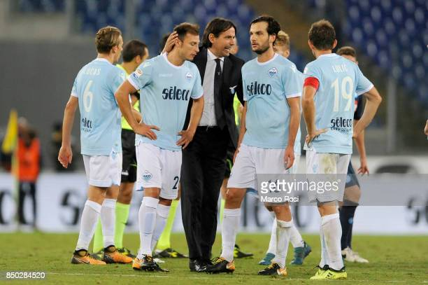 Lazio head coach Simone Inzaghi after the Serie A match between SS Lazio and SSC Napoli at Stadio Olimpico on September 20 2017 in Rome Italy