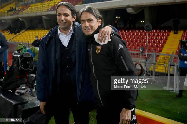 Lazio head coach Simone Inzaghi and Benevento Calcio head coach Filippo Inzaghi during the Serie A match between Benevento Calcio and SS Lazio at...