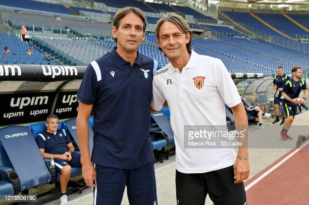 Lazio head coach Simone Inzaghi and Benevento head coach Filippo Inzaghi pose before the Friendly Match between SS Lazio and Benevento at Olimpico...