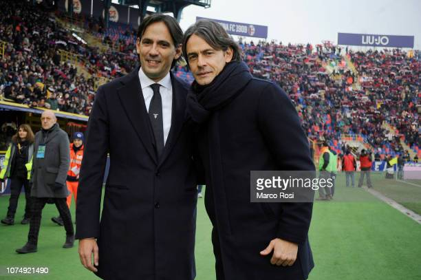 Lazio head coach Simone Inzaghi and Bologna FC head coach Filippo Inzaghiduring the Serie A match between Bologna FC and SS Lazio at Stadio Renato...