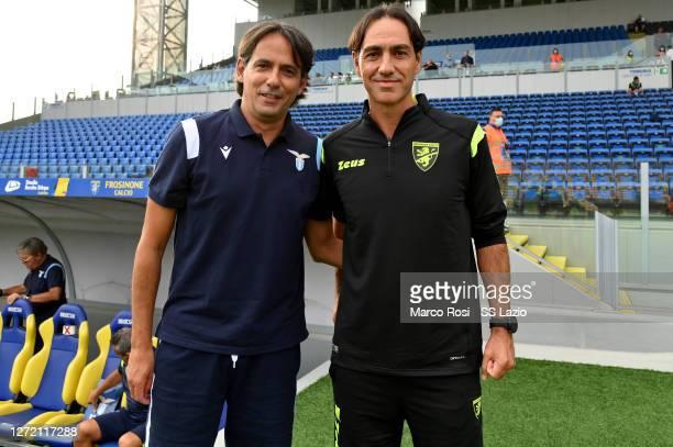 Lazio head coach Simone Inzaghi and Frosinone head coach Alessandro Nesta pose during the Pre-Season friendly match between Frosinone Calcio and SS...