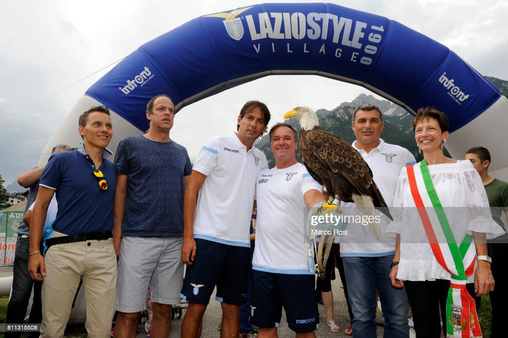 Lazio head coach Simone Inzaghi and Major of Auronzo di Cadore Tatiana Pais Becher during the opening of Lazio Style Village - Day 1 on July 9, 2017 in Rome, Italy.