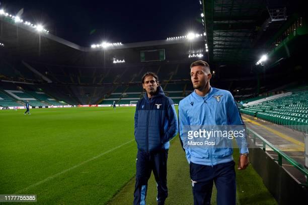 Lazio head coach Simone Inzaghi and Sergej Milinkovic Savic of SS Lazio during the walk around at Celtic Park Stadium on October 23 2019 in Glasgow...