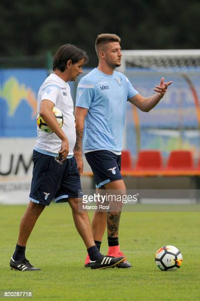 Lazio head coach Simone Inzaghi and Sergej Milinkovic Savic of SS Lazio during the SS Lazio PreSeason Training Camp on July 21 2017 in Pieve di...