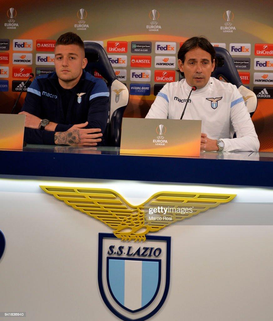 SS Lazio head coach Simone Inzaghi and Sergej Milinkovic Savic of SS Lazio diring the SS Lazio press conference on April 4, 2018 in Rome, Italy.