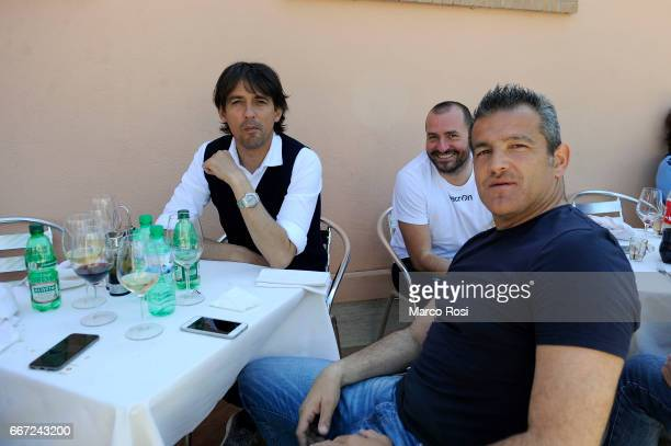 Lazio head coach Simone Inzaghi and SS Lazio second coach Massimiliano Farris during the SS Lazio Players Make A Barbeque At Formello Center on April...