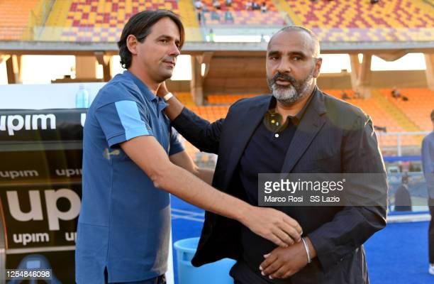 Lazio head coach Simone Inzaghi and US Lecce head coach Fabio Liverani during the Serie A match between US Lecce and SS Lazio at Stadio Via del Mare...