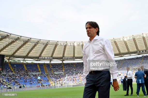 Lazio head coach Simone Inzaghi before the Serie A match between SS Lazio and AS Roma at Stadio Olimpico on September 1 2019 in Rome Italy