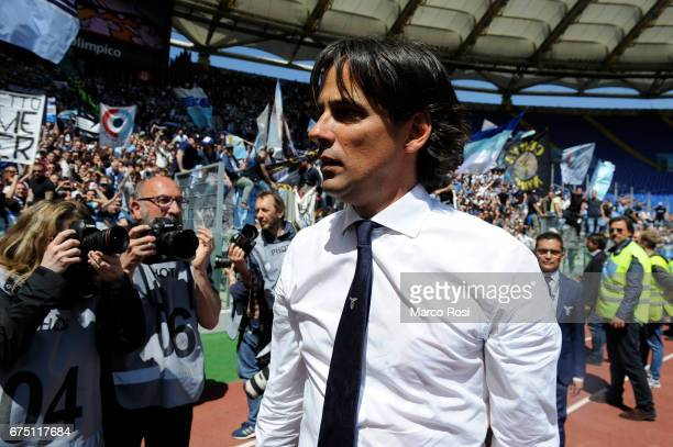 Lazio head coach Simone Inzaghi celebrates their victory after the Serie A match between AS Roma and SS Lazio at Stadio Olimpico on April 30 2017 in...