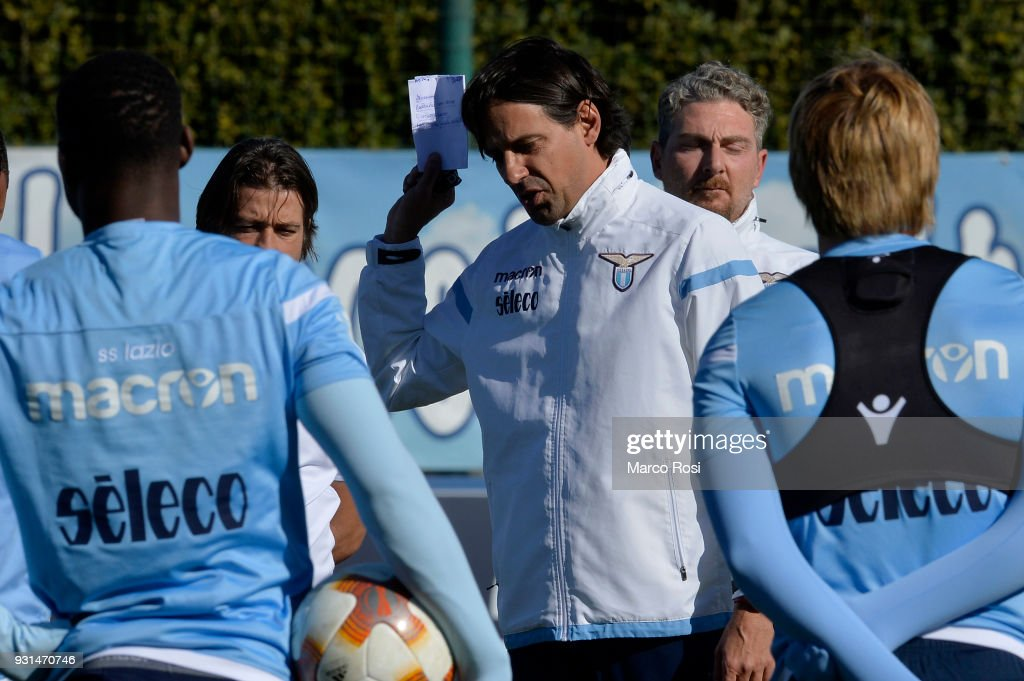 SS Lazio head coach Simone Inzaghi during a training session on March 13, 2018 in Rome, Italy.