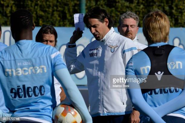 Lazio head coach Simone Inzaghi during a training session on March 13 2018 in Rome Italy