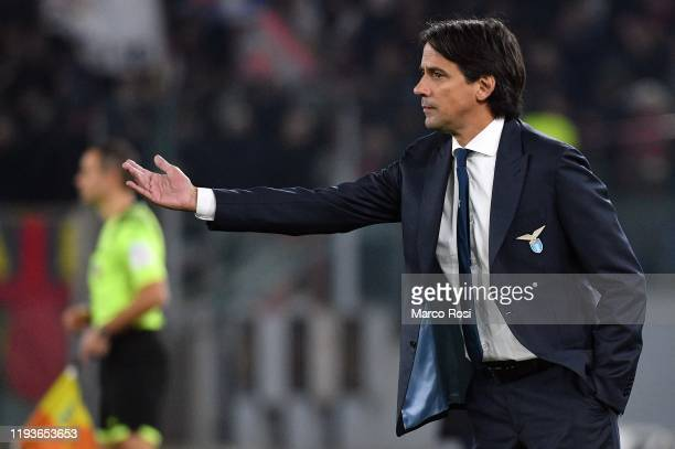 Lazio head coach Simone Inzaghi during the Coppa Italia match between SS Lazio and US Cremonese at Olimpico Stadium on January 14 2020 in Rome Italy