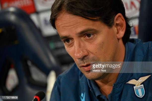 Lazio head coach Simone Inzaghi during the press conference on October 2 2019 in Rome Italy