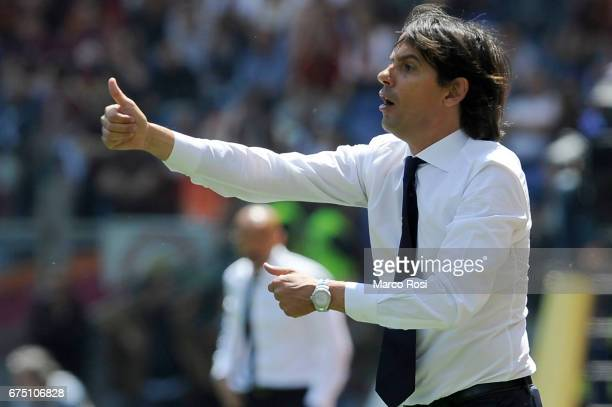 Lazio head coach Simone Inzaghi during the Serie A match between AS Roma and SS Lazio at Stadio Olimpico on April 30 2017 in Rome Italy
