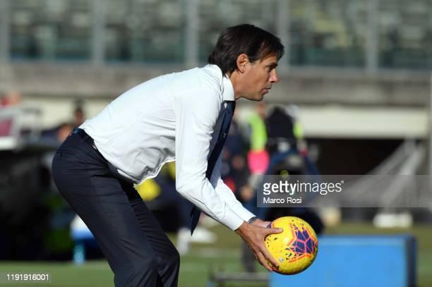 Lazio head coach Simone Inzaghi during the Serie A match between Brescia Calcio and SS Lazio at Stadio Mario Rigamonti on January 5 2020 in Brescia...