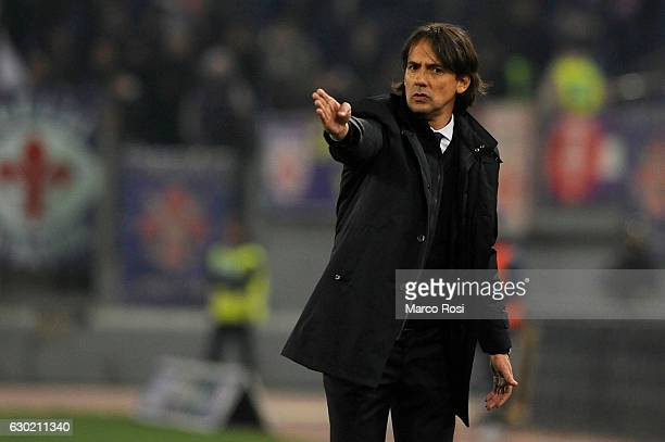Lazio head coach Simone Inzaghi during the Serie A match between SS Lazio and ACF Fiorentina at Stadio Olimpico on December 18 2016 in Rome Italy