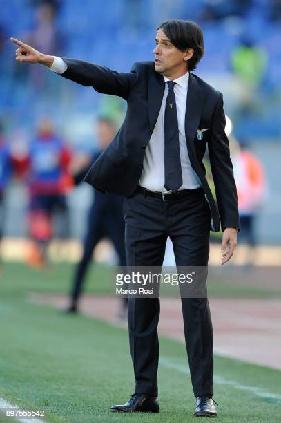 Lazio head coach Simone Inzaghi during the serie A match between SS Lazio and FC Crotone at Stadio Olimpico on December 23 2017 in Rome Italy