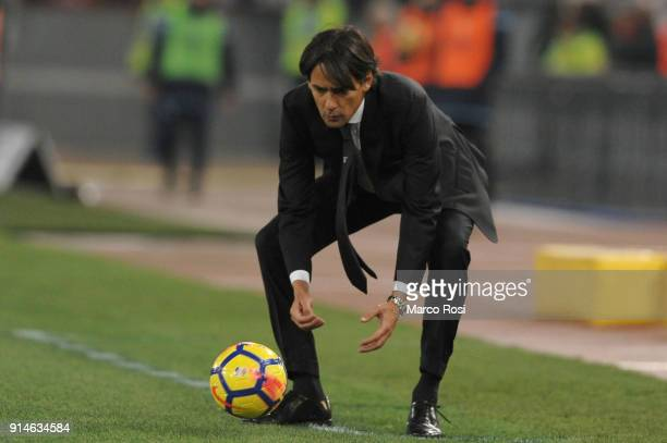 Lazio head coach Simone Inzaghi during the Serie A match between SS Lazio and Genoa at Stadio Olimpico on February 5 2018 in Rome Italy