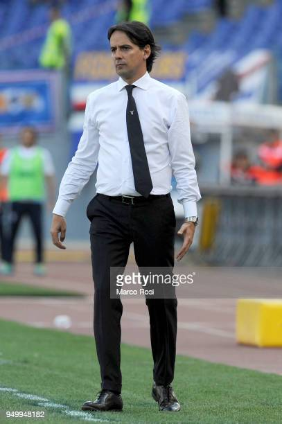 Lazio head coach Simone Inzaghi during the serie A match between SS Lazio and UC Sampdoria at Stadio Olimpico on April 22 2018 in Rome Italy