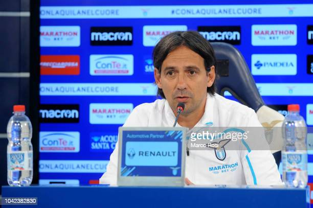 Lazio head coach Simone Inzaghi during the SS Lazio press conference on September 28 2018 in Rome Italy