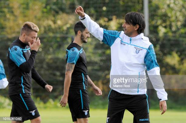 Lazio head coach Simone Inzaghi during the SS Lazio training session on August 11, 2018 in Marienfeld, Germany.