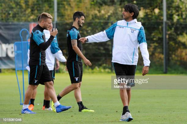 SS lazio head coach Simone Inzaghi during the SS Lazio training session on August 11 2018 in Marienfeld Germany