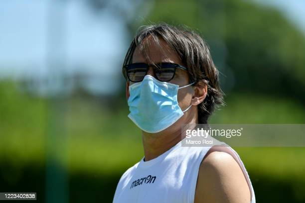Lazio head coach Simone Inzaghi during the SS Lazio training session at the Formello center on May 07 2020 in Rome Italy