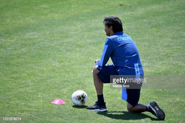 Lazio head coach Simone Inzaghi during the SS Lazio training session at the Formello center on May 28 2020 in Rome Italy