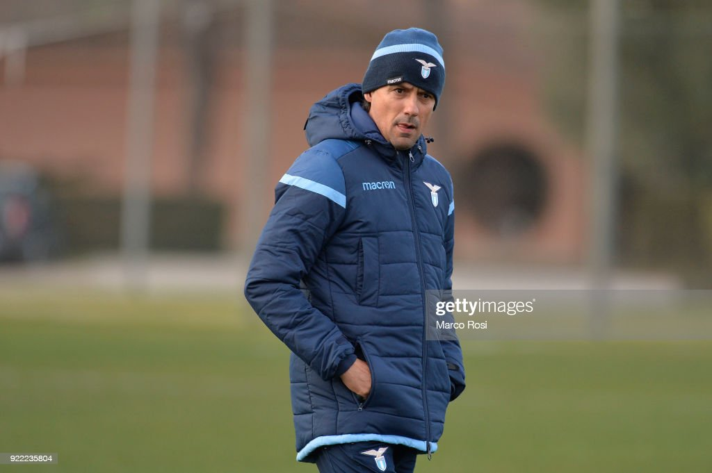 SS Lazio head coach Simone Inzaghi during the SS Lazio training session on the eve of their UEFA Europa Match against Steaua Bucharest on February 21, 2018 in Rome, Italy.