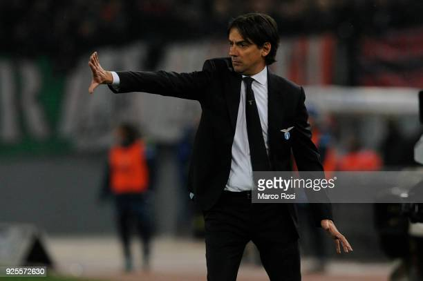 Lazio head coach Simone Inzaghi during the TIM Cup match between SS Lazio and AC Milan at Olimpico Stadium on February 28 2018 in Rome Italy