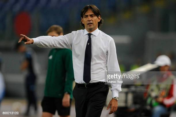 Lazio head coach Simone Inzaghi during the UEFA Europa League group K match between SS Lazio and SV Zulte Waregem at Olimpico Stadium on September 28...
