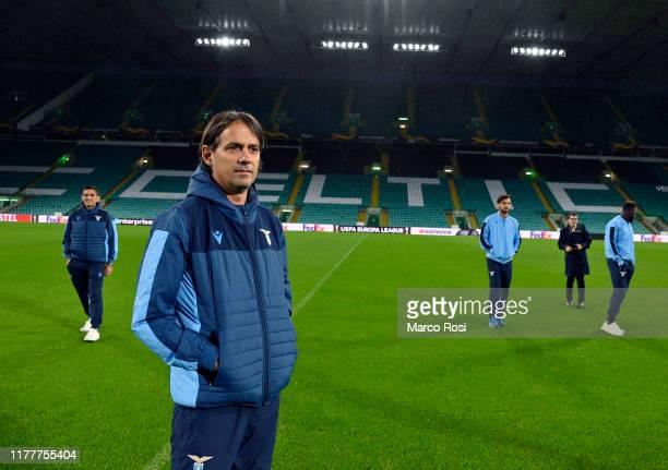 Lazio head coach Simone Inzaghi during the walk around at Celtic Park Stadium on October 23 2019 in Glasgow Scotland