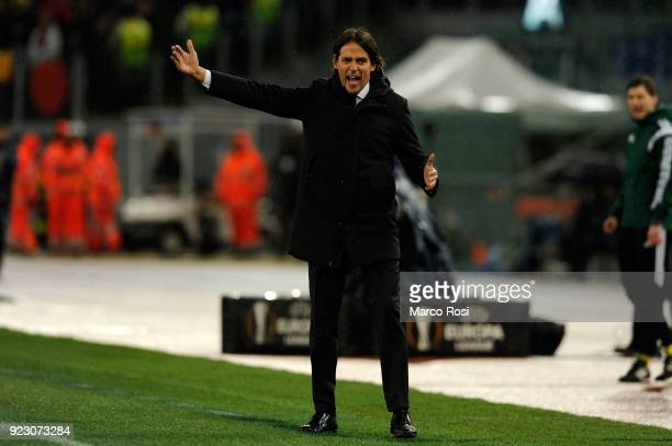 Lazio head coach Simone Inzaghi during UEFA Europa League Round of 32 match between Lazio and Steaua Bucharest at the Stadio Olimpico on February 22...