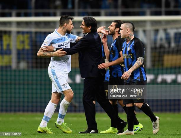 Lazio head coach Simone Inzaghi Francesco Acerbi of SS Lazio and Antonio Candreva of FC Internazionale and Radja Nainggolan of FC Internazionale...