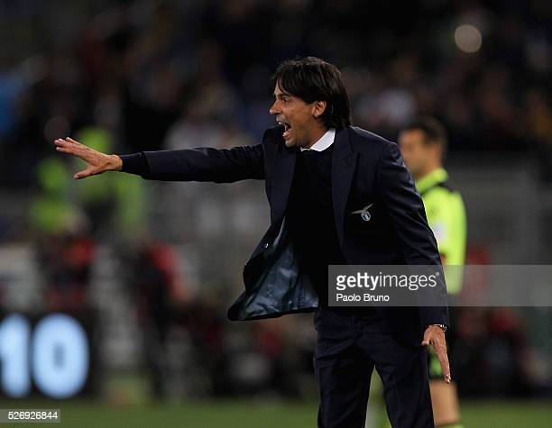 Lazio head coach Simone Inzaghi gestures during the Serie A match between SS Lazio and FC Internazionale Milano at Stadio Olimpico on May 1 2016 in...