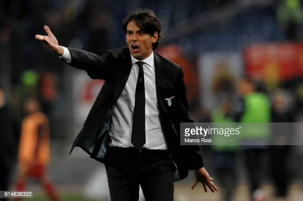 Lazio head coach Simone Inzaghi gestures during the Serie A match between SS Lazio and Genoa at Stadio Olimpico on February 5 2018 in Rome Italy