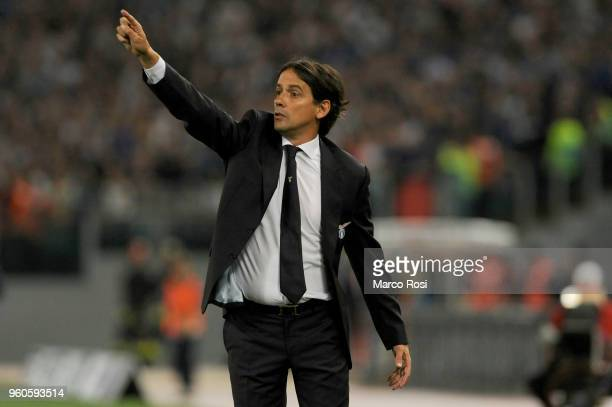 Lazio head coach Simone Inzaghi gestures during the serie A match between SS Lazio and FC Internazionale at Stadio Olimpico on May 20 2018 in Rome...